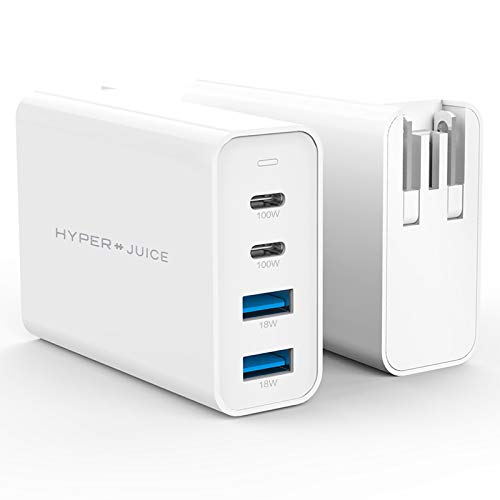 GaN USB C Charger, HyperJuice 100W PD 3.0 Dual USB-C Fast Wall Charger 4 Port Mac Travel Type C Power Adapter Compatible w MacBook Pro/Air, iPad Pro, iPhone, Type-C Laptop, Smartphone