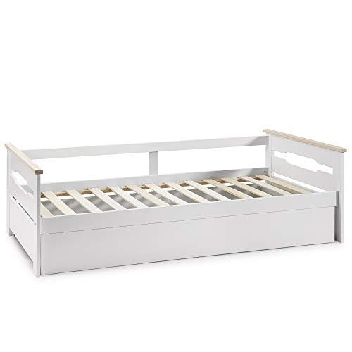 VS Venta-stock Cama Nido Juvenil Claudia 90X190, Color Blanco, Dimensiones: 200cm (Largo), 105cm (Ancho) y 62cm (Alto)