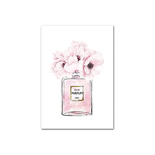 Vogue Poster Rosa Floral Perfume Lienzo Pared Pintura Minimalista Pared Arte Moderno Chicas Habitación Hogar Moda Rosa Perfume Pared Cuadro Decoracion 50x70cmx1 Sin Marco