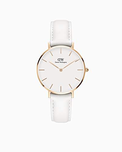 Daniel Wellington Classic Petite Gold Japanese-Quartz Watch with Leather Strap, White, 20 (Model: DW00100189)