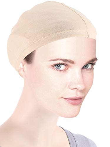 Bamboo Wig Liner Cap Beige 2 pc for Women Sensitive Scalp Chemo Cancer Hairloss