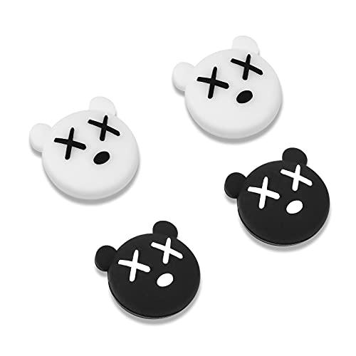 DLseego Thumb Grip Caps Kompatibel mit Switch & Switch Lite, Weiche Silikon Joy-Con Joystick Grip Cute 3D Analog Stick Abdeckung - Schwarz und Weiß-Bär (4Pcs)
