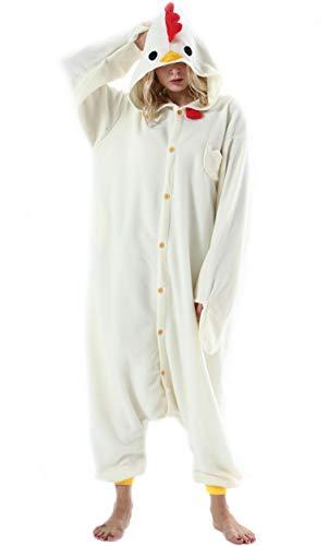Mujer Hombre Pijama Animal Entero Unisex para Adultos con Capucha Cosplay Pyjamas Ropa de Dormir Traje de Disfraz para Festival de Carnaval Halloween Navidad Gallo para Altura 148-187cm