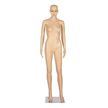 Bonnlo Female Mannequin Full Body Adjustable Mannequin Torso Dress Form with Metal Base 68inch Detachable Plastic Manikin Body Female Realistic Display Mannequin