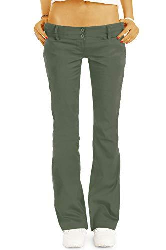 bestyledberlin BE Styled Damen Chinos - Stoffhosen - Bootcut Hüfthosen mit Stretch h17a 38/M Khaki