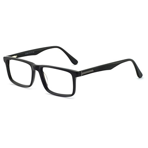 OCCI CHIARI Mens Rectangle Fashion Stylish Reading Glasses Eyewear Frame With Clear Lens 54mm (Black)