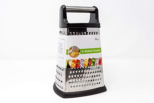 4Sided Cheese Grater Stainless Steel with Strong Grip and Sharp Blades Professional Box Design with Perfect Slicer Shredder amp Zester For Fruits Vegetables Cheeses Carrot Etc