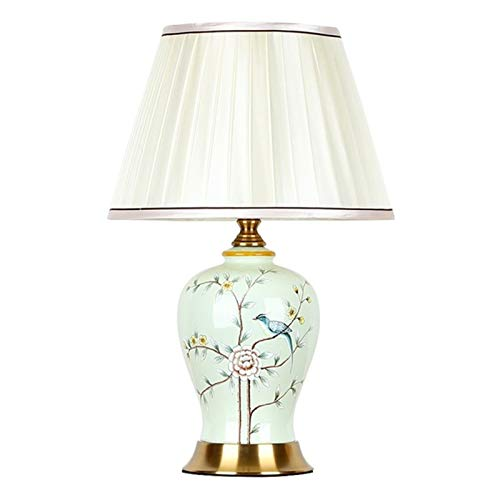 hp table lamps Floor lamp Ceramic Table Lamps Desk Luxury Modern Contemporary Fabric for Foyer Living Room Office Creative Bed Room Hotel (Lampshade Color : B Button Switch)