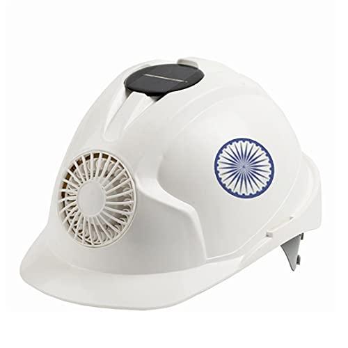 KLMM India Casco de Seguridad al Aire Libre con Sombrero de Trabajo con Ventilador de energía Solar Tapa Protectora de construcción (Color : White)