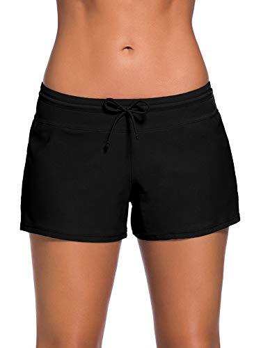 SATINIOR Women Swimsuit Shorts Tankini Swim Briefs Plus Size Bottom Boardshort Summer Swimwear Beach Trunks for Girls (Black, XXXL)