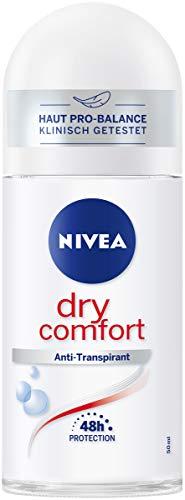 Nivea Dry Comfort Deo Roll On (50 ml), anti-transpirant voor elke dagelijkse situatie met antibacteriële bescherming, 48h deodorant
