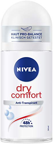 NIVEA Dry Comfort Deo Roll On (50 ml), Antitranspirant für jede Alltagssituation mit antibakteriellem Schutz, 48h Deodorant