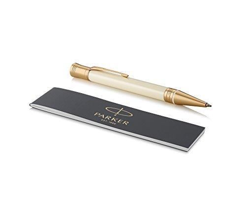 Parker Duofold Classic, bolígrafo de color marfil y negro, punta mediana y tinta negra