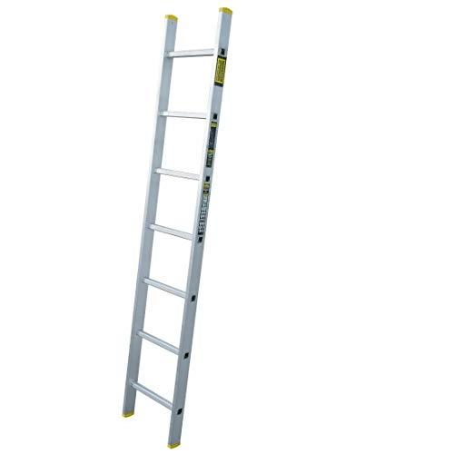 Anlegeleiter mit 7 Sprossen – Profi-Leiter aus Aluminium, 191 cm lang, bis zu 150 kg Belastung, Arbeitshöhe ca. 279 cm, ideal zum Anstellen, FORTENA