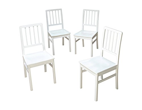 Aprodz Solid Sheesham Wood White Natal Dining Chairs for Living Room   Set of 4 Wooden Chair