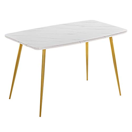 SSLine White/Gold Dining Table Rectangular Kitchen Dining Room Table Modern Elegant Dinner Table w/Faux Marble Top&Golden Metal Leg for 4/6 Person Simple Home Office Computer Desk Workstation