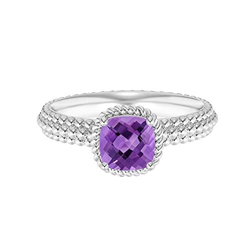 Shine Jewel Anillo con Cuentas de Piedras Preciosas de Amatista púrpura, Plata 925, 0,75 CTW, cojín Trenzado (25)