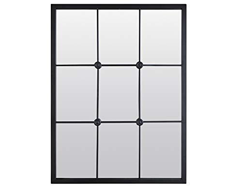 EMDE - Espejo industrial de metal negro estilo caboy, 80 x 6