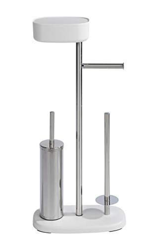 WENKO Stand WC-Garnitur mit Box Rivazza, mit integriertem Toilettenpapierhalter, WC-Bürstenhalter, Ersatzrollenhalter und Ablagebox, rostfreier Edelstahl und Kunststoff, 17 x 72,5 x 32 cm, Weiß
