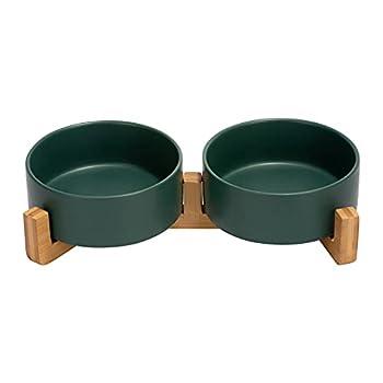 SPUNKYJUNKY Gamelle Double en céramique avec Support en Bambou pour Chat et Chien (400ml, Vert)