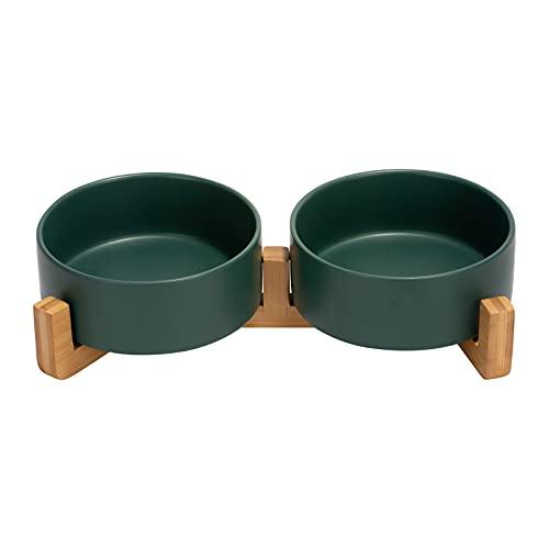 SPUNKYJUNKY Keramik Doppel Hund Futternapf mit Bambus Ständer für Katzen und Hunde (400ml, Grün)