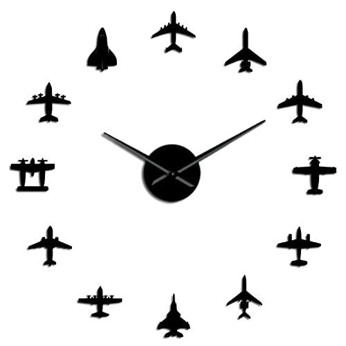 hufeng Reloj de Pared Flying Plane Fighter Jet Reloj de Pared Moderno DIY Acrílico Efecto de Espejo Pegatina Avión Silencioso Reloj de Pared Aviador Decoración del hogar Negro