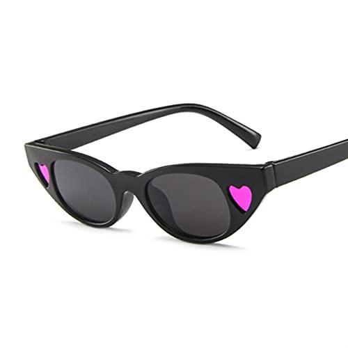 KANCK Vintage Cat Eye Gafas de Sol Mujer Moda Moda Pequeño Marco Gafas de Sol Señoras Personalidad Retro Cat Eyeglasses UV400 (Lenses Color : BlackPurple)