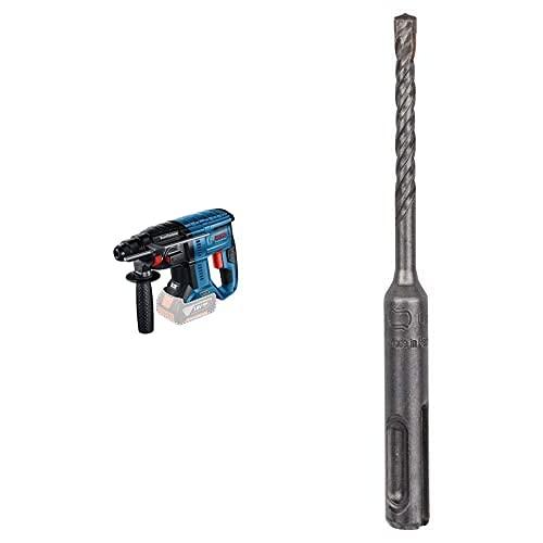 Bosch Professional Martello perforatore a batteria GBH 18V-21 18V System (numero di giri a vuoto 0-1800 giri/min, senza batterie e caricabatteria, in scatola di cartone) + SDS Plus Punta Martello