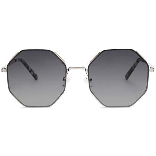 SOJOS Sunglasses for Women Polygon Sunglasses UV400 Lenses AURA SJ1128 with Silver Frame/Gradient Grey Lens