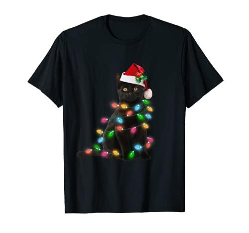 Black Cat christmas light tshirt funny cat lover christmas