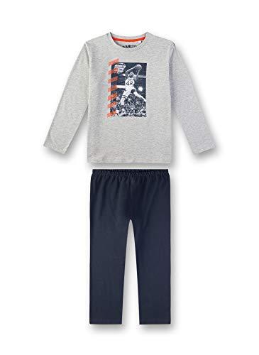 Sanetta Jungen Pyjama Zweiteiliger Schlafanzug, Grau (Silver Mel. 1560), (Herstellergröße: 104)