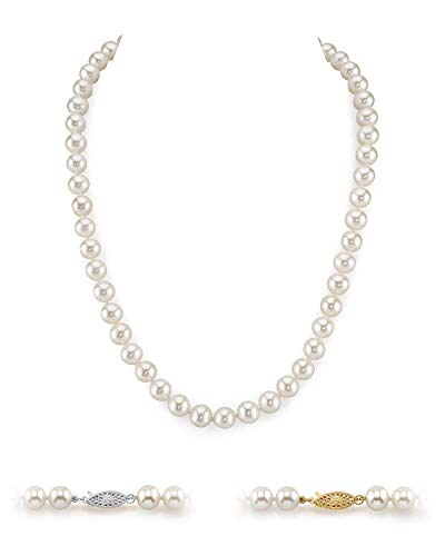"THE PEARL SOURCE 14K Gold 8-9mm AAAA Quality White Freshwater Cultured Pearl Necklace for Women in 24"" Matinee Length"