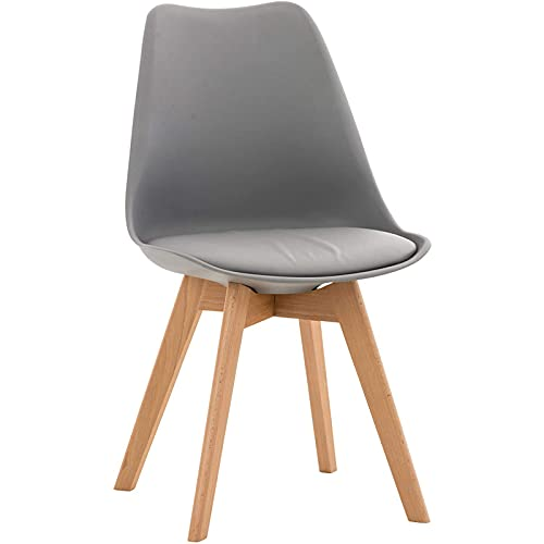 DPPAN Conjunto de 2 sillas, Silla de Comedor, Sillas Madera nórdicas con Patas de Madera y Asiento Acolchado Suave, Respaldo ergonómico,Gray