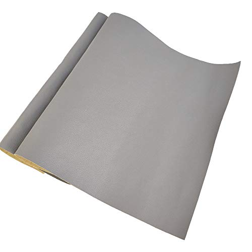 Large Leather Repair Patch Adhesive Back First-aid for Upholstery Couch Car Seat Jackets Handbags 12x24 Inches, Pack of 2 (Gray)