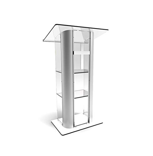FixtureDisplays Clear Acrylic Plexiglass Lucite Podium Curved Brushed Stainless Steel Sides Pulpit Lectern with Cross 14307+1803-CROSS-NF