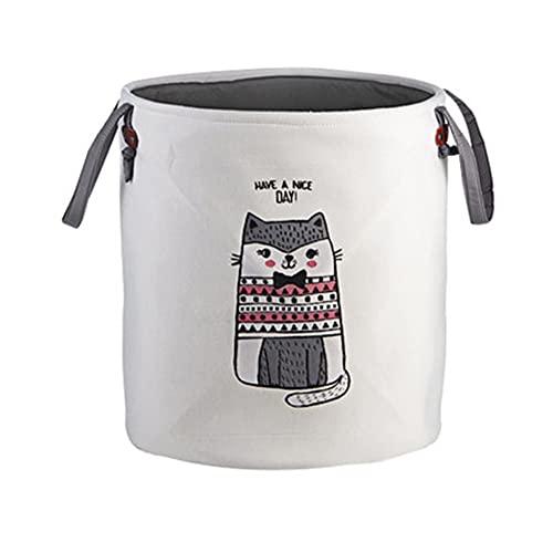 Cestas de lavandería con manijas Mango de almacenamiento Curtper para niños Lavado Canasta Tela de lona Curtidor de lavandería para ropa Toallas Mantas Libros Estantes ( Color : Grey cat )