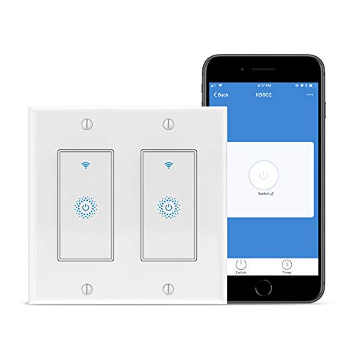 Smart Light Switch,2 Gang WiFi Light Switch for Alexa,KKCOOL WiFi Smart Switch Compatible with Alexa,Google Assistant,Siri,2 Gang or 2 Pack