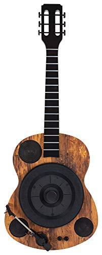 Beatfoxx GT-25 Chuck Plattenspieler in Gitarrenform - Vertikal Retro Vinyl Turntable mit Direktantrieb - Schallplattenspieler mit Bluetooth und AUX - 3 Geschwindigkeiten (33, 75 und 78 RPM) - Braun