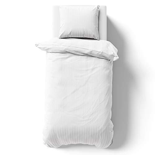 Alreya Ropa de cama de satén Mako de 155 x 220 cm, rayas blancas, 100% algodón, con cremallera YKK, funda nórdica supersuave, solo funda de edredón