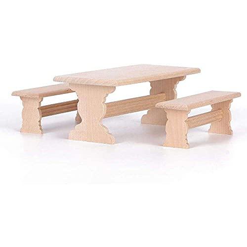YuKeShop Ensemble de meubles de jardin miniature avec table et chaises en bois pour maison de poupée