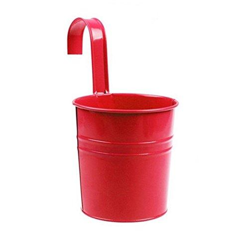 Vi.yo, vaso portafiori a forma di secchio da appendere alla parete, in ferro e metallo, per giardino e balcone, Red, 10*10*15.5CM
