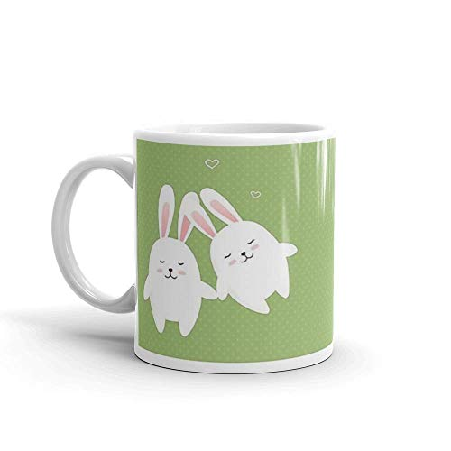 Lsjuee Bunnies in Love Mug 11 Oz White Ceramic