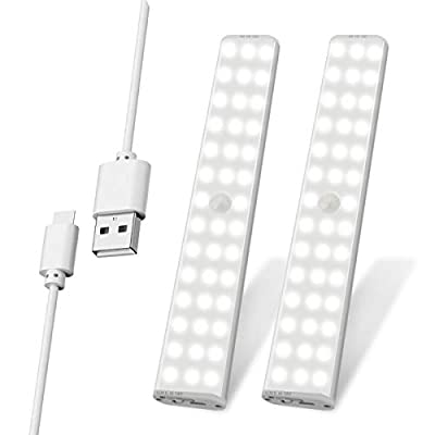 Under Cabinet Lighting, Exmate 2 Pack 38 LEDs USB Rechargeable Motion Sensor Closet Light with Magnetic Stick On Anywhere Wireless Night Light Bar for Closet Drawer Wardrobe Kitchen Stairs Hallway