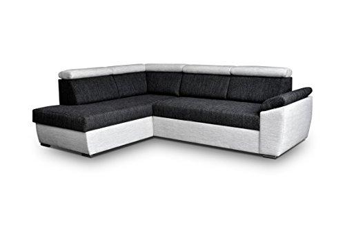 Ecksofa Sofa Eckcouch Couch mit Schlaffunktion und Bettkasten Ottomane L-Form Schlafsofa Bettsofa Polstergarnitur - MODENA (Ecksofa Links, Schwarz)