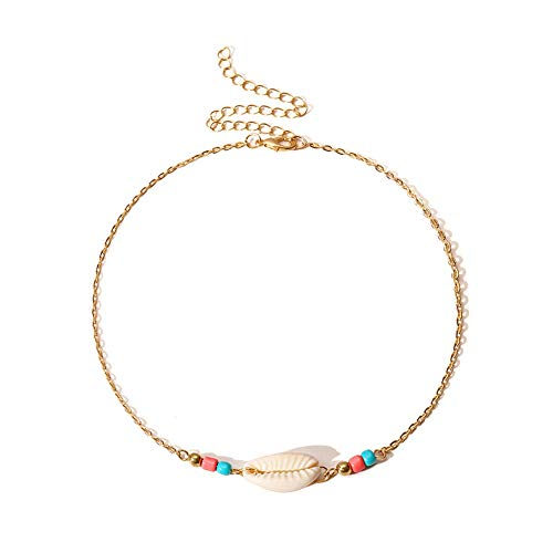 Scrox 1x Boho Collares Mujer Plata Colgante Moda Simple Colgante de Concha Collar Mujer Joyería Creativo Playa Regalo (Oro)