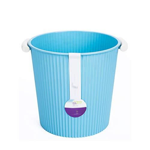Cesta de papel para niños de 8L, Papelera de plástico para oficina de oficina con asa, Contenedor de almacenamiento multicolor para niñas, niños en el hogar-blue