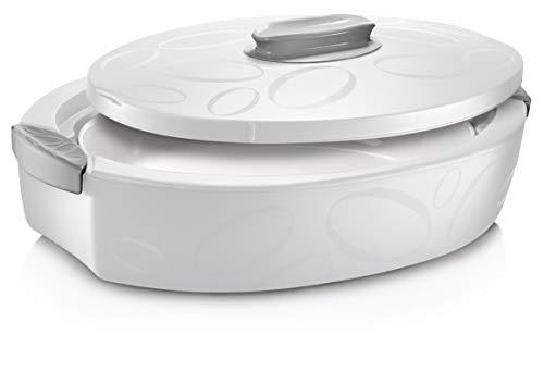 Thermobehälter 3 Liter (Weiß) | Zum Kühlen und Warmhalten von Speisen bis zu 5h | Thermobehälter | Thermoschüssel mit Deckel | Warmhaltetopf groß 3 Liter | Zum Grillen