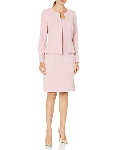 Tahari ASL Women's Collarless Peplum Jacket and Dress Set, Pale Pink, 14