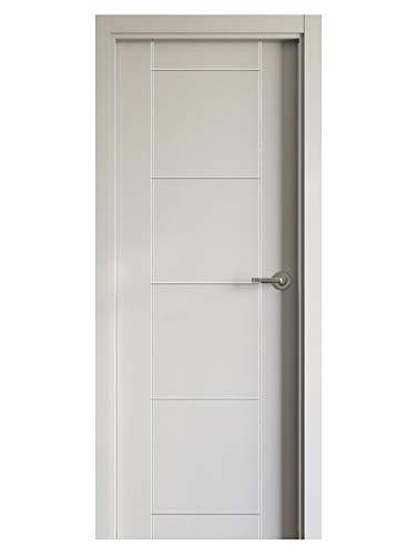 Block puerta de interior lacada en blanco DM hidrófugo. Batiente de 90x20 + tapeta lisa de 220x90x12 / 10. Herrajes color Inox/Latón/Negro/Cuero (manilla incluida).