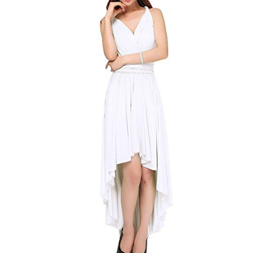 OBEEII Vestido Asimétrico de Fiesta Mujer Sin Mangas Vestido Largo de Verano Sexy High Low Multi Way Bandage Dress Ropa de Dama Elegante para Noche Ceremonia Boda Novia Gala Prom